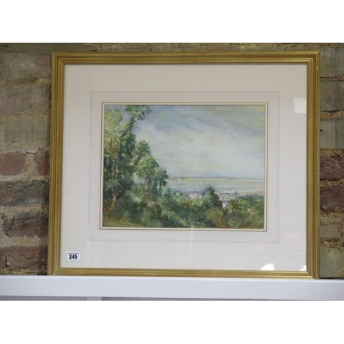 245 - A Margaret Fisher Prout (1875-1963) watercolour, framed and glazed, landscape scene looking into sea...