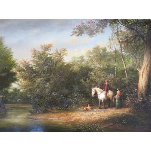 247 - An oil on canvas, Figures in conversation by a country ford, Ronald Cavalla (British), 64.5 cm x 44....
