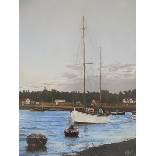 248 - A framed Margaret Glass pastel of Felixstowe Ferry, 54cm x 35cm, frame size 62cm x 42cm, in good con...
