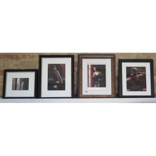 249 - Four framed Fabian Perez prints Brocato Rosa, Turquesa signed, Medius Negras III and balcony at Buen...
