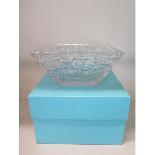 296 - A Tiffany & Co crystal glass sierra square bowl / platter in very good condition, with box, 11.5cm t...