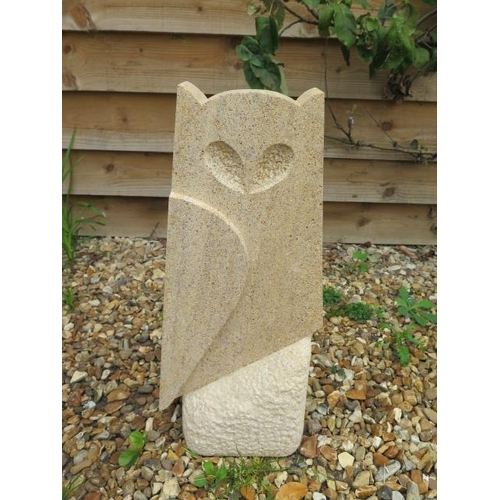 3 - A stylised limestone owl sculpture, hand carved in Cambridgeshire, 53cm tall x 23cm wide