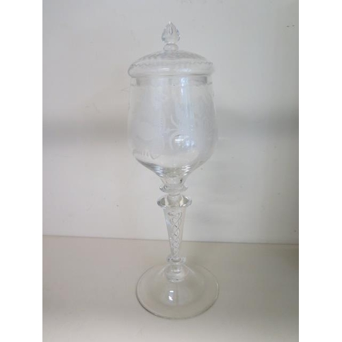 308 - An oversized etched spiral glass lidded goblet, 33cm tall, with fitted box, in good condition
