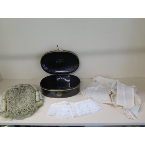 310 - Ede & Ravenscroft Barristers horse hair wig,  collars ruff and cuffs in an oval metal tin to A.R Dic...