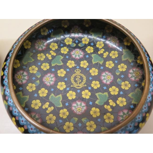 314 - A pair of early 20th century Chinese cloisonne vases together with a bowl each with a medical corp i...