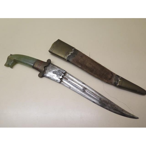 317 - A carved jade tigers head handle dagger and sheath, length of jade 8.5cm, overall size 34.5cm, small...