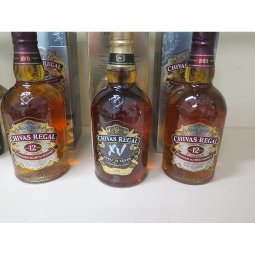 500 - Two 70cl bottles of 12 year old Chivas Regal whisky and a Chivas Regal 15 year 70cl bottle of whisky...