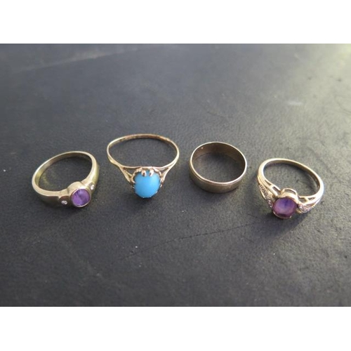 616 - Four 9ct gold rings, size Y to N, three hallmarked, total weight approx 9.8 grams, largest ring has ...