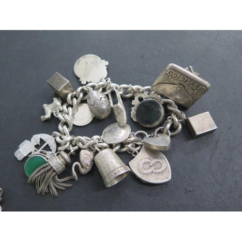 619 - A silver charm bracelet and a silver chain bracelet, 18cm long, total weight approx 4 troy oz