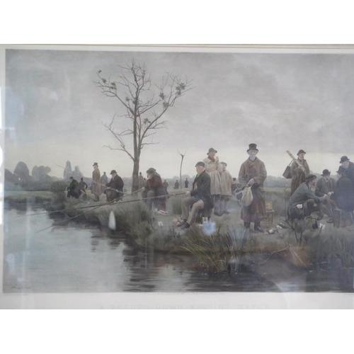 248 - W Dendy Sadler photogravure entitled, A pegged down fishing match, in a gilt frame, frame size 76cm ...