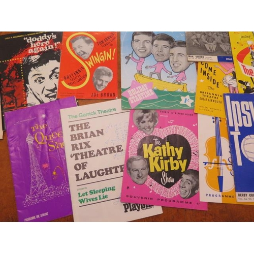 302 - A good collection of assorted theatre stage programmes and some signed star photographs including Pe...