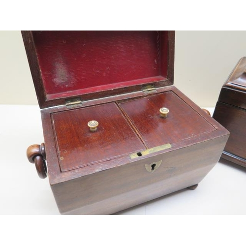 305 - Two 19th century mahogany tea caddies, one with void interior, both ideal restoration projects, larg...