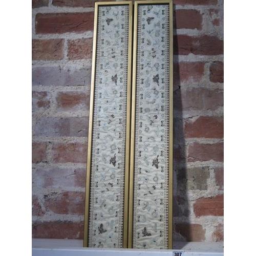 307 - Two oriental silkwork panels in gilt frames, in good condition, frame sizes 77cm x 13cm