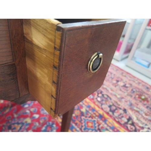 61 - A 19th century oak three drawer side table, 73cm tall x 76cm x 47cm