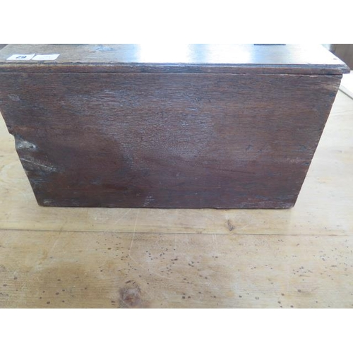 62 - A 19th century oak clerks box with a sloping front and three internal drawers, 27cm tall x 49cm x 30...