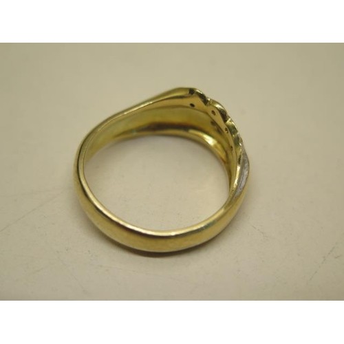621 - A hallmarked 18ct yellow and white gold ladies dress ring 'seashore', total weight approx 8.4 grams,...