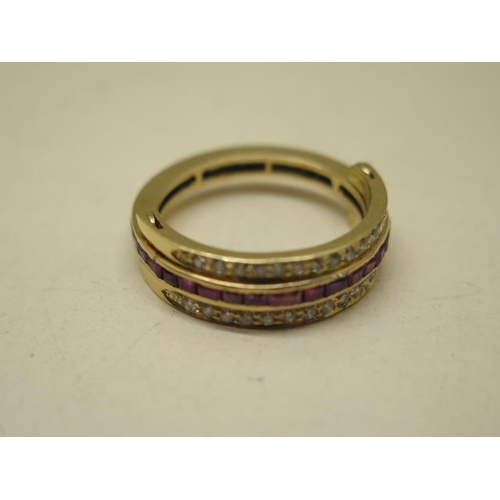 623 - A yellow metal full eternity ring incorporating small channel set rubies and sapphires with a double...