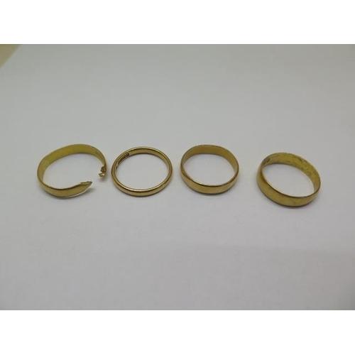 631 - Three hallmarked 22ct band rings and a cut 22ct band ring, total weight approx 13 grams, sizes O/P/Q