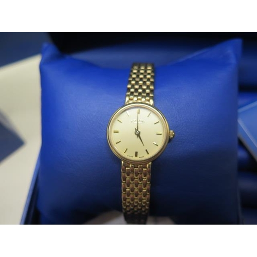 807 - A 9ct yellow gold Rotary ladies bracelet wristwatch with box, guarantee and bag, total weight approx...