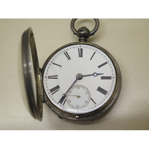 810 - A silver pocket watch, the movement signed Richrd Rourledge, 5.5cm case, running, generally good, wi...