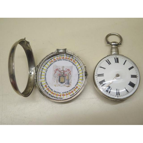 813 - A silver pair cased pocket watch with a fusee movement signed Geo Robinson London 22858, 5.8cm outer...