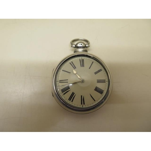 814 - A silver pair cased pocket watch with a fusee movement, number 14084, 5.8cm outer case, generally go...