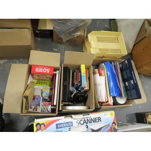 18 - 3 Boxes of stationery, a scanner and paper trays