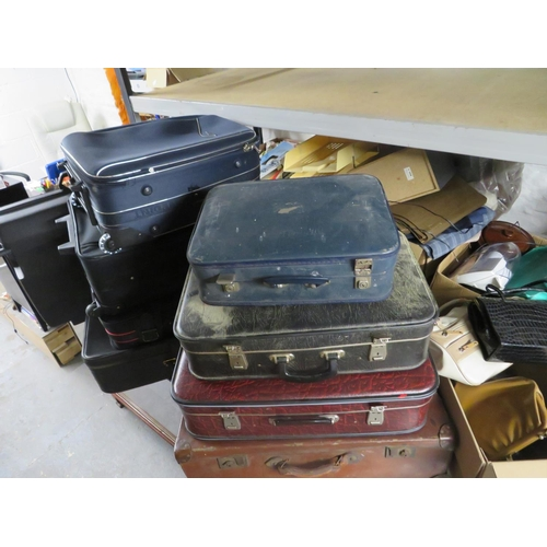 14 - Large selection of cases inc vintage cases and a box of handbags