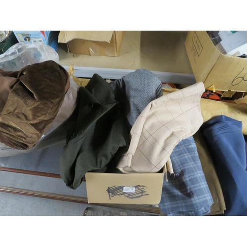 15 - Roll of fabric and box and bag of fabric offcuts