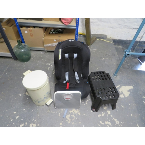 30 - Childs car seat,  scales, bin and stool