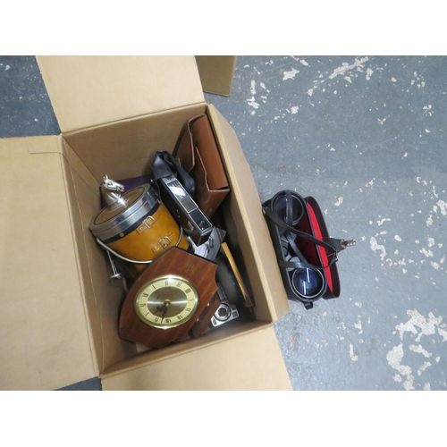 50 - Box of collectables inc binoculars and vintage cameras
