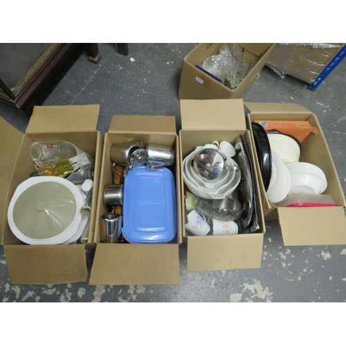 51 - 4 Boxes of kitchen ware inc Pyrex
