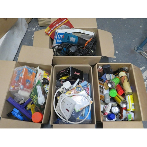 54 - 4 Boxes of tools and household misc