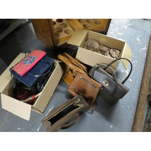 57 - 2 Boxes of handbags and purses etc