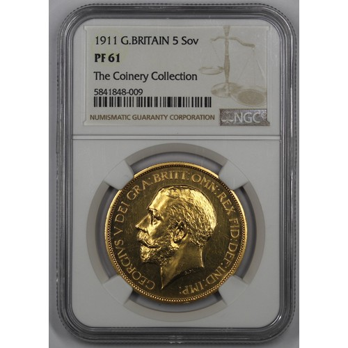 1911 Gold Quintuple Sovereign (£5), George V. Graded NGC PF61 and in a Coinery Collection holder. The signature gold piece of George V's reign and always highly desirable.