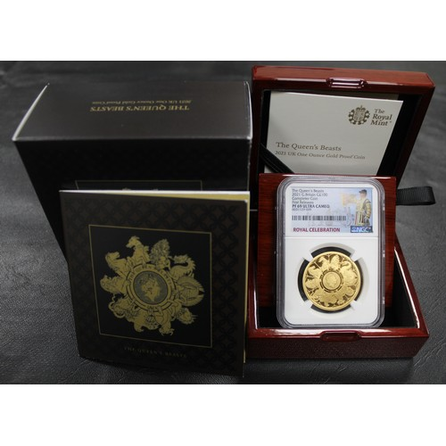 2021 1oz gold proof Queen's Beasts Completer. NGC Graded PF69 Ultra Cameo with Royal Celebration label. One of the signature releases of the year and offered complete with original box & COA (no capsule). One of just 690 pieces released of this type.