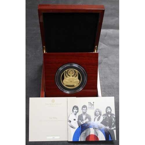 The Who 5oz Gold Proof. In full and original Royal Mint packaging. Much as struck and with the wave effect similar to the 2oz release. Superb eye appeal; an imposing piece. With COA #4 of a maximum mintage of just 64. A signature offering which was not released for general purchase.