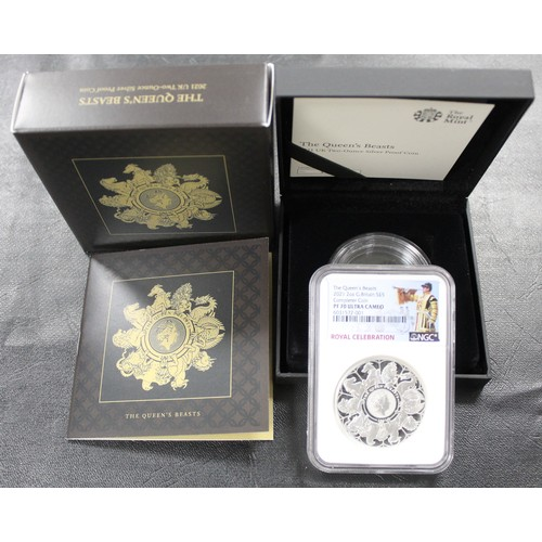 2021 2oz silver proof Queen's Beasts Completer. NGC Graded PF70 Ultra Cameo with Royal Celebration label. One of the signature releases of the year and offered complete with original box, capsule & COA.