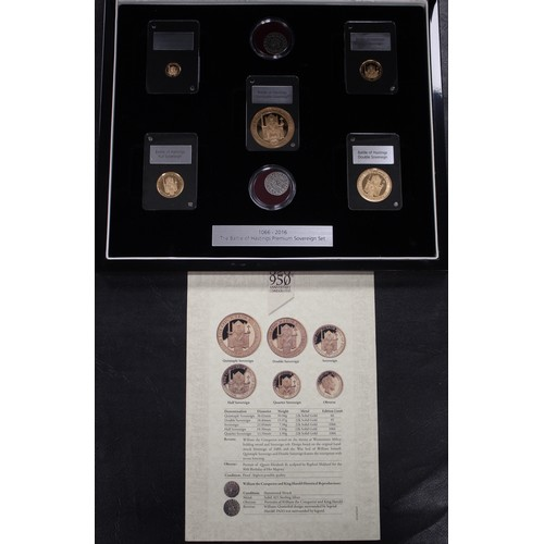 2016 Battle of Hastings 950th Anniversary gold proof 5-coin set. A Gibraltar issue comprising 5, 2, 1, 1/2 & 1/4 sovereigns each depicting William the Conqueror on throne. Additionally there are two reproduction pennies of King Harold & William the Conqueror. The quintuple sovereign with a limited mintage of just 66 pieces, the double just 95 and the rest just 1066. An attractive set housed in a presentation box with COA.
