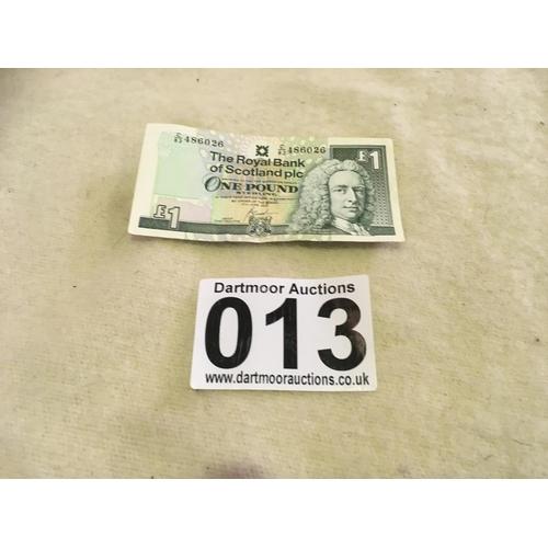 13 - Scottish one pound bank note...