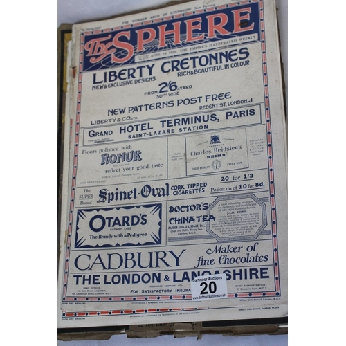 60 - A lot: six vintage magazines - Bibby's Annuals, 1916 and 1920; 'The Sphere' 1930s ; The Conoisseur, ...