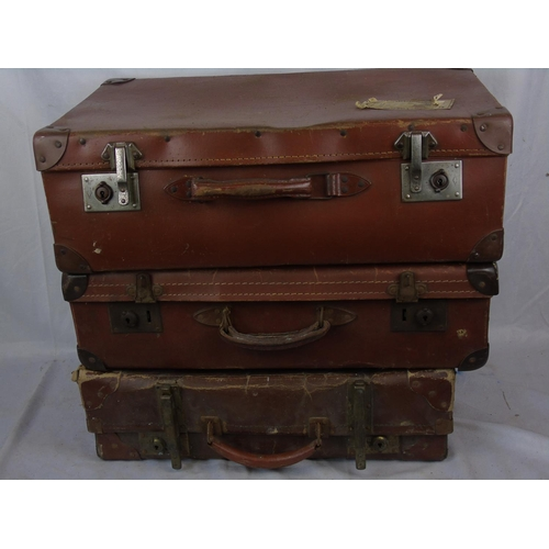 308 - 3 leather suitcases...