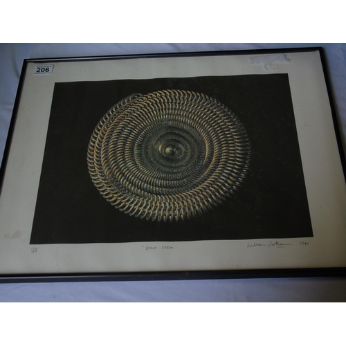 206 - 'Gold Form', a limited edition print from an original by William Latham, signed and dated bottom rig...