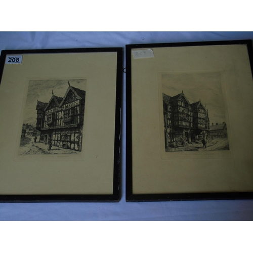 208 - Two etchings (1886) of old houses in Frankwell, Shrewsbury by A. E. Smith, framed and glazed, 40 x 3...