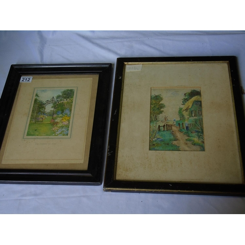 212 - Two pictures: an original watercolour of cottage garden scene, early 20C, framed and glazed, 46 x 38...