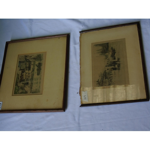 213 - Two etchings of West Country scenes by Henry G Walker (1876-1932) who attended the Birmingham Munici...