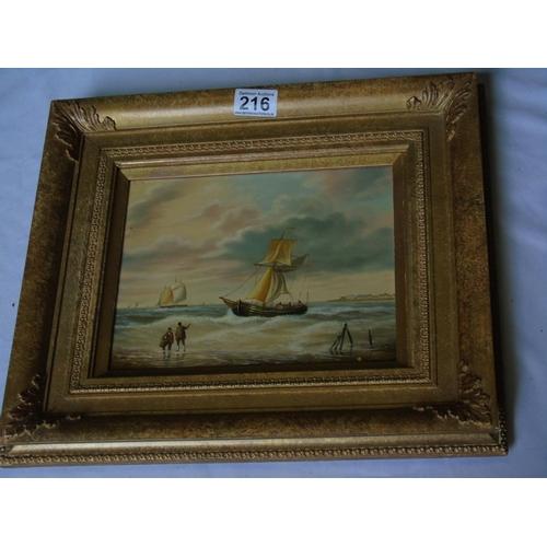 216 - A seascape in ornate frame, oil on board, 34 x 39 cm...