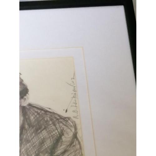 226 - Robert O. Lenkiewicz (1941-2002) 'Young Man in Loft Cafe, Hampstead', signed upper right, blue biro ...