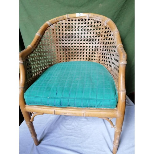 3 - A set of four cane and rattan conservatory chairs, green cushions...