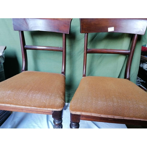 304 - A good set of six mid 19C mahogany dining chairs (two pictured) ; curved deep top rail, two carvers ...